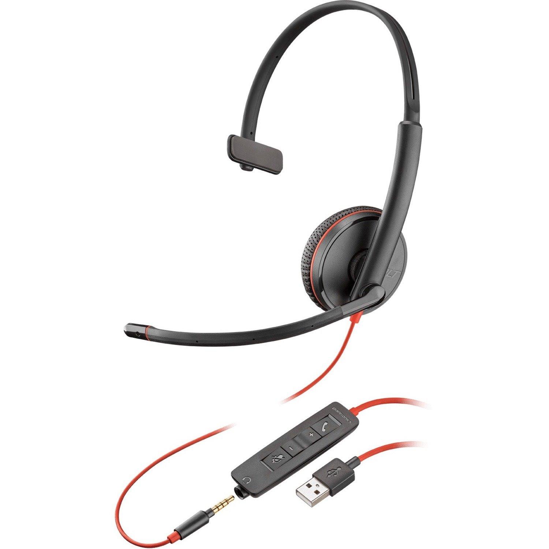 Plantronics Blackwire C3215 Wired Over-the-head Mono Headset - Black