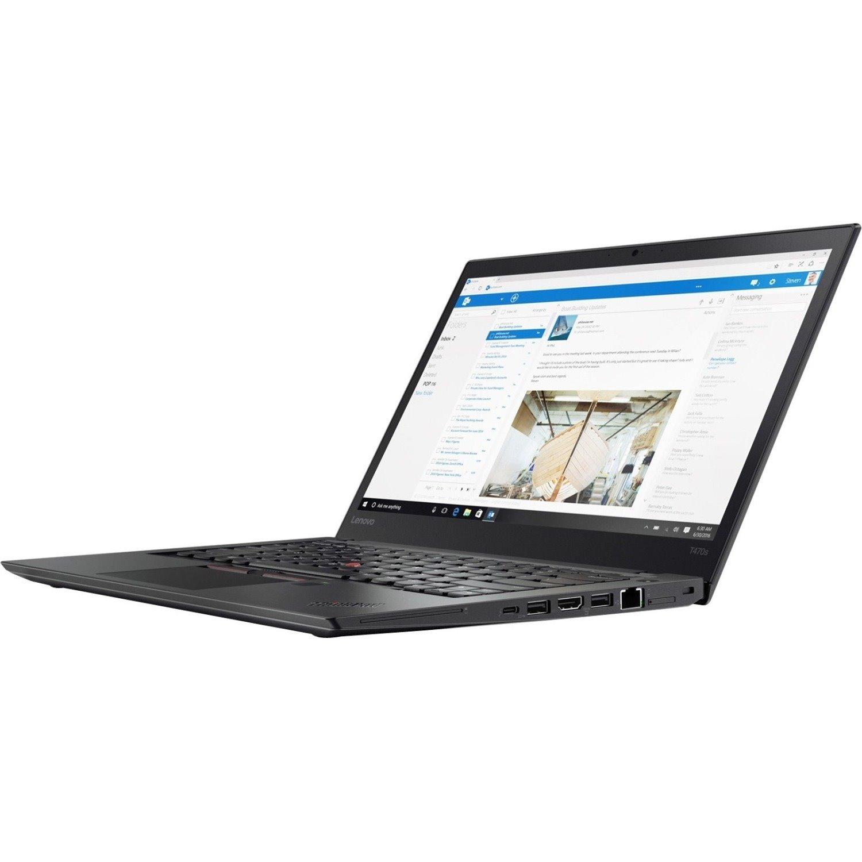 "Lenovo ThinkPad T470s 20HFS1QV00 35.6 cm (14"") Touchscreen Notebook - 1920 x 1080 - Core i7 i7-7500U - 8 GB RAM - 256 GB SSD - Black"