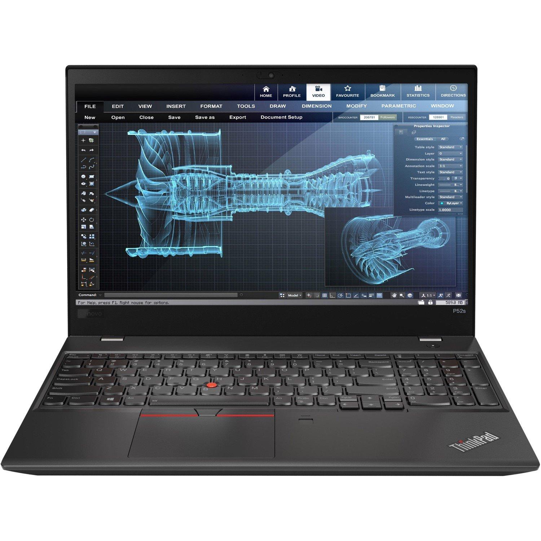 "Lenovo ThinkPad P52s 20LBS0CJ00 39.6 cm (15.6"") LCD Mobile Workstation Ultrabook - Intel Core i7 (8th Gen) i7-8550U Quad-core (4 Core) 1.80 GHz - 8 GB DDR4 SDRAM - 256 GB SSD - Windows 10 Pro 64-bit - 1920 x 1080 - In-plane Switching (IPS) Technology"
