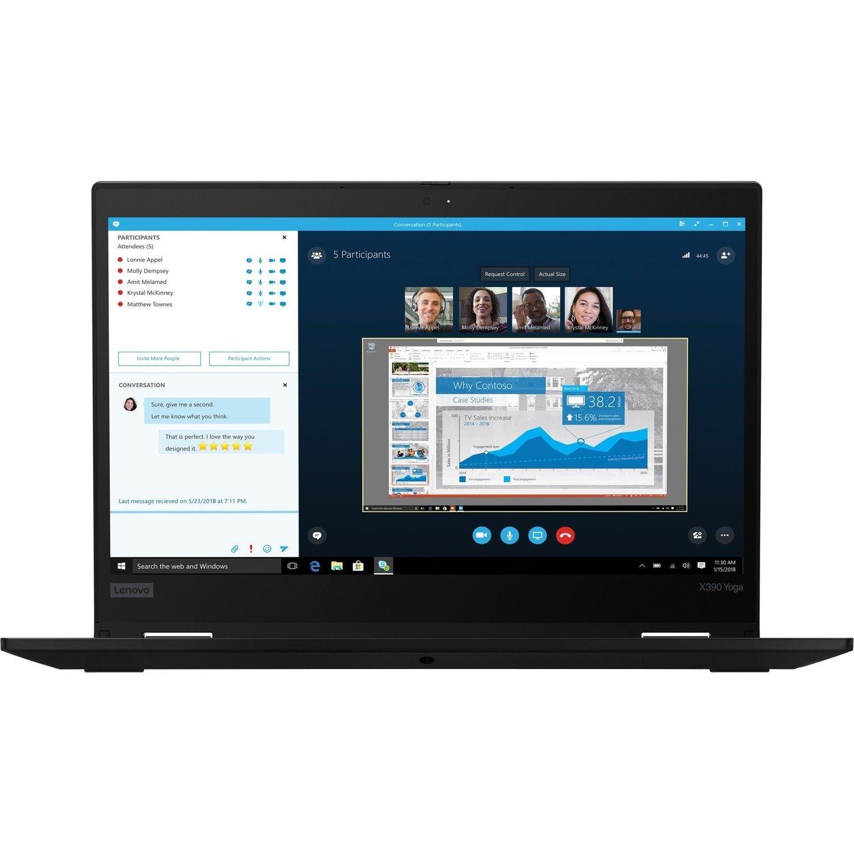 "Lenovo ThinkPad X390 Yoga 20NQS05800 33.8 cm (13.3"") Touchscreen 2 in 1 Notebook - 1920 x 1080 - Core i5 i5-8265U - 8 GB RAM - 512 GB SSD - Black"