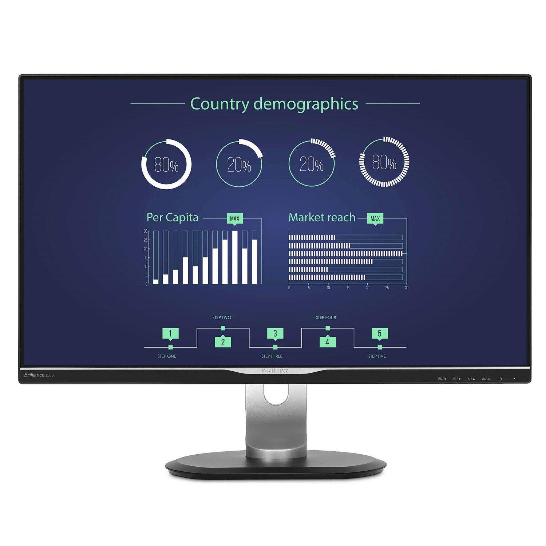 "Philips Brilliance 258B6QUEB 63.5 cm (25"") WQHD LED LCD Monitor - 16:9 - Textured Black"