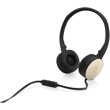 HP H2800 Wired Stereo Headset - Over-the-head - Supra-aural - Black, Silk Gold