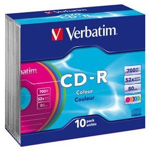 Verbatim CD Recordable Media - CD-R - 52x - 700 MB - 10 Pack Slim Case