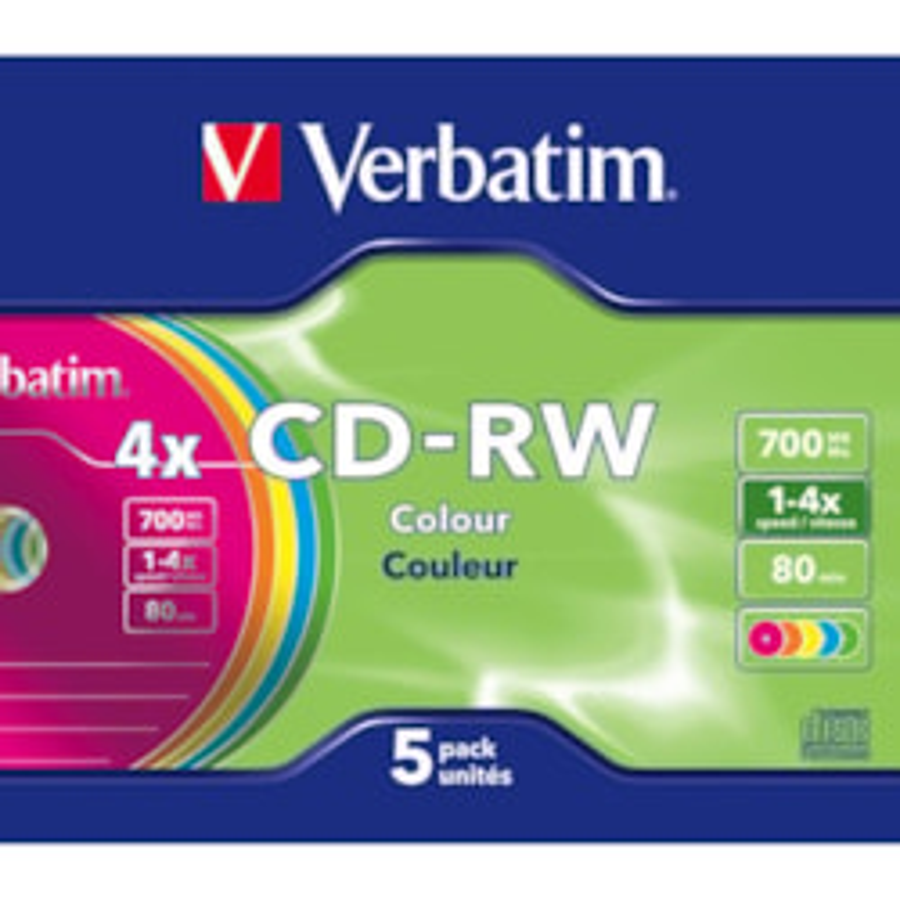 Verbatim DataLifePlus 43133 CD Rewritable Media - CD-RW - 4x - 700 MB - 5 Pack Slim Jewel Case