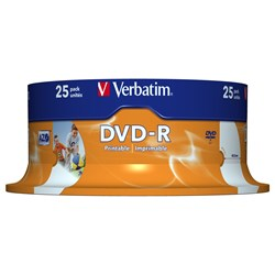 Verbatim 43538 DVD Recordable Media - DVD-R - 16x - 4.70 GB - 25 Pack Spindle