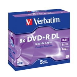 Verbatim 43541 DVD Recordable Media - DVD+R DL - 8x - 8.50 GB - 5 Pack Jewel Case