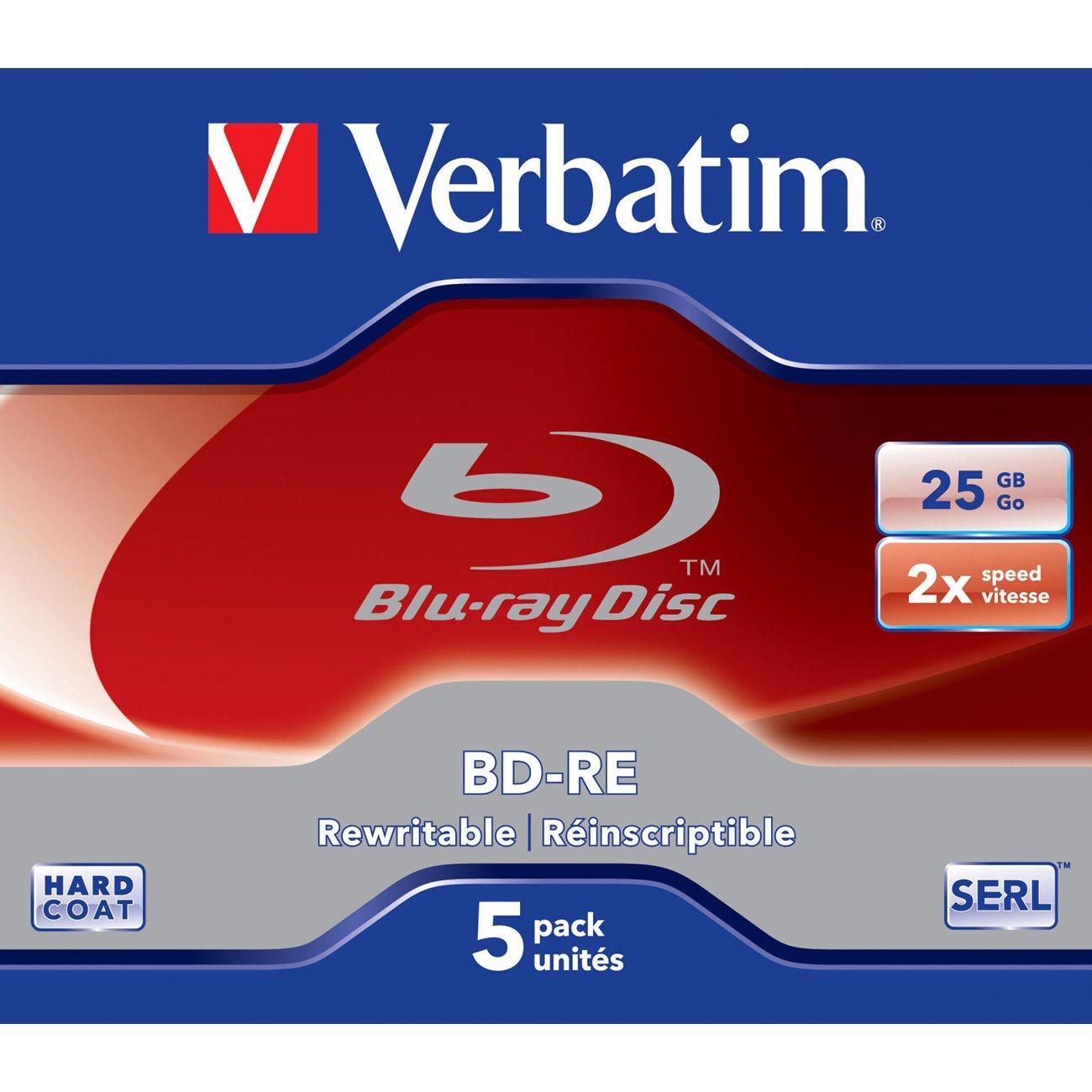 Verbatim 43615 Blu-ray Rewritable Media - BD-RE - 2x - 25 GB - 5 Pack Jewel Case