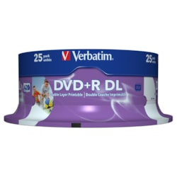 Verbatim 43667 DVD Recordable Media - DVD+R DL - 8x - 8.50 GB - 25 Pack Spindle