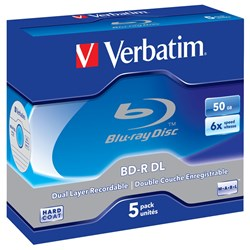Verbatim 43748 Blu-ray Recordable Media - BD-R DL - 6x - 50 GB - 5 Pack Jewel Case