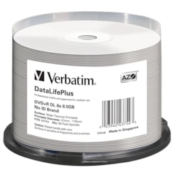 Verbatim DataLifePlus 43754 DVD Recordable Media - DVD+R DL - 8x - 8.50 GB - 50 Pack Spindle