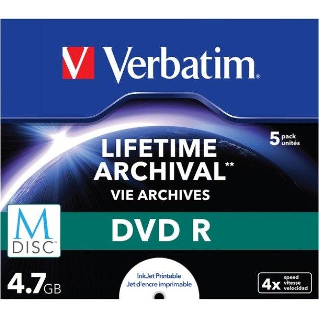 Verbatim DVD Recordable Media - DVD-R - 4x - 4.70 GB - 5 Pack Jewel Case