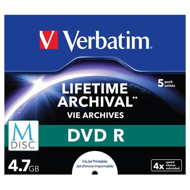 Verbatim DVD Recordable Media - DVD-R - 4x - 4.70 GB - 5 Pack Jewel Case
