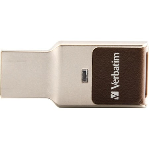 Verbatim Fingerprint Secure 64 GB USB 3.0 Type A Flash Drive - Silver - 256-bit AES