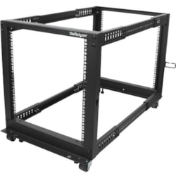 StarTech.com 12U High x 464.82 mm Wide x 1016 mm Deep Rack Cabinet for Server, LAN Switch, A/V Equipment - Black