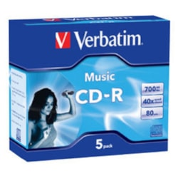 Verbatim CD Recordable Media - CD-R - 52x - 700 MB - 5 Pack Jewel Case