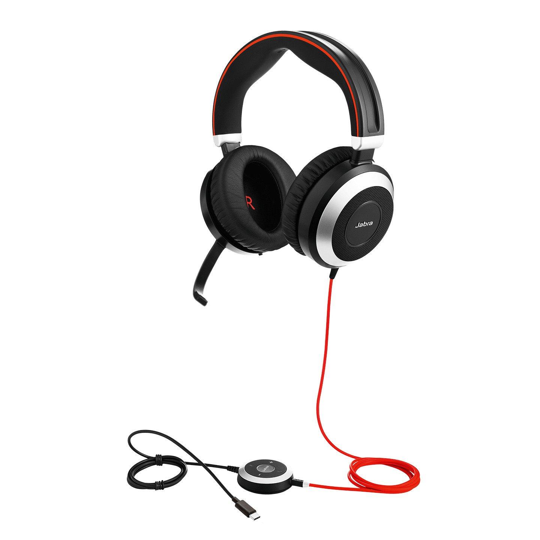 Jabra EVOLVE 80 UC Wired Stereo Headset - Over-the-head - Circumaural - Black