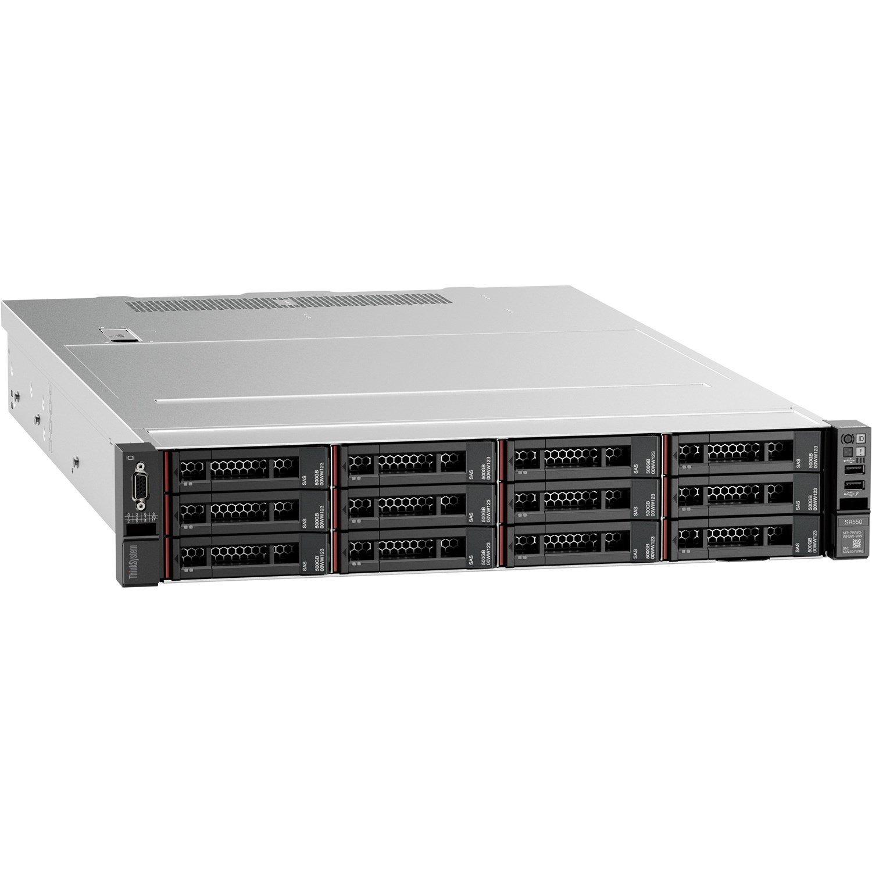 Lenovo ThinkSystem SR550 7X04A07LAU 2U Rack Server - 1 x Xeon Silver 4208 - 16 GB RAM HDD SSD - Serial ATA/600, 12Gb/s SAS Controller