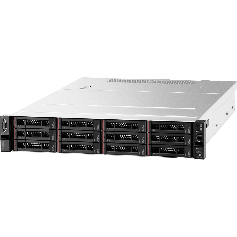 Lenovo ThinkSystem SR550 7X04A07ZAU 2U Rack Server - 1 x Xeon Silver 4208 - 16 GB RAM HDD SSD - Serial ATA/600, 12Gb/s SAS Controller