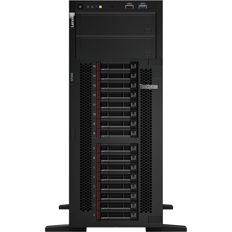 Lenovo ThinkSystem ST550 7X10A0A2AU 4U Tower Server - 1 x Xeon Silver 4210 - 16 GB RAM HDD SSD - 12Gb/s SAS, Serial ATA/600 Controller