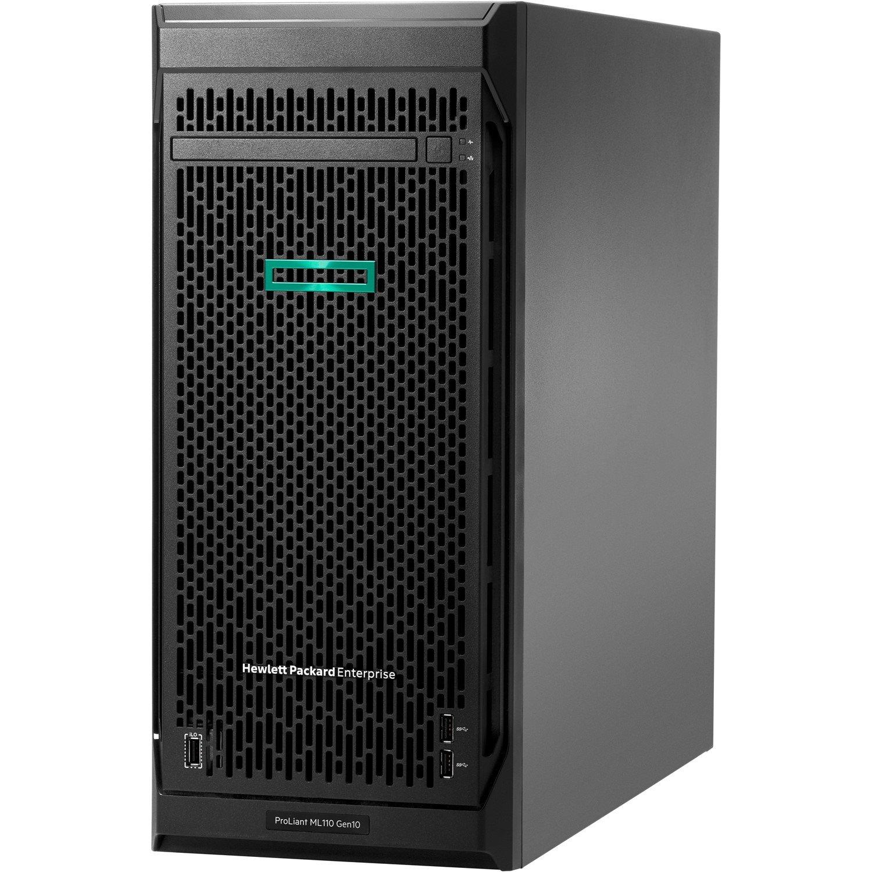 HPE ProLiant ML110 G10 4.5U Tower Server - 1 x Intel Xeon Bronze 3104 Hexa-core (6 Core) 1.70 GHz - 8 GB Installed DDR4 SDRAM - 1 TB (1 x 1 TB) Serial ATA/600 HDD - Serial ATA/600 Controller - 1 x 350 W