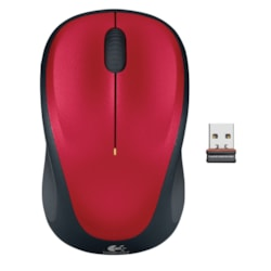 Logitech M235 Mouse - Optical - Wireless - Red