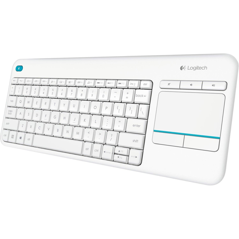Logitech K400 Plus Keyboard - Wireless Connectivity - USB Interface - TouchPad - QWERTY Layout - White
