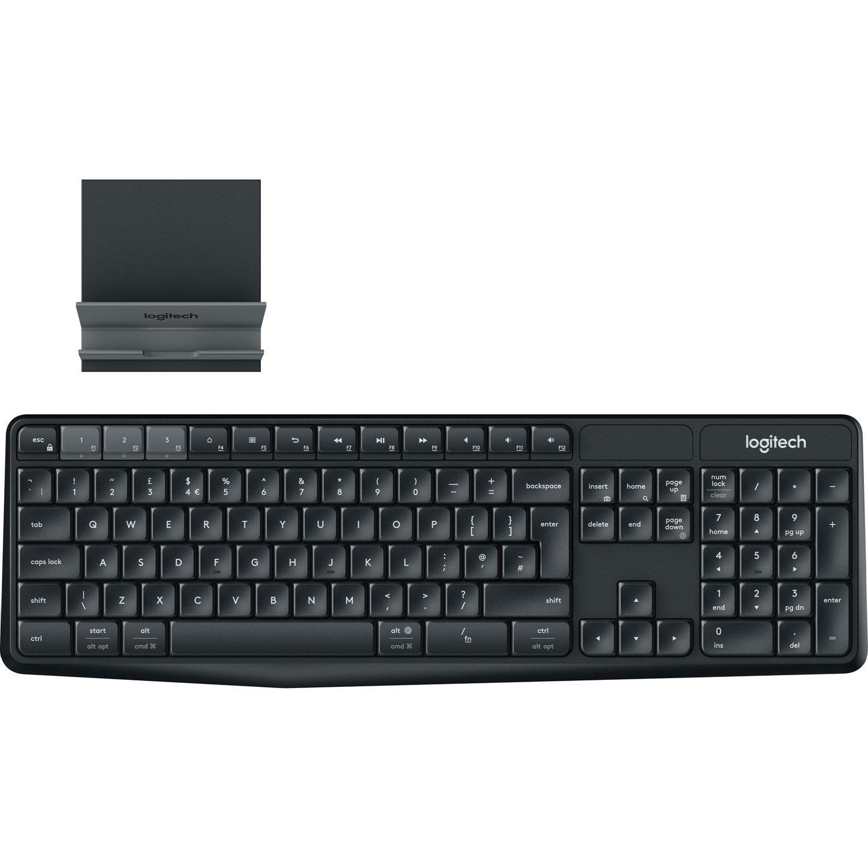 Logitech K375s Keyboard - Wireless Connectivity - USB Interface - Black, Charcoal