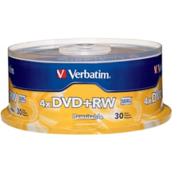 Verbatim 94834 DVD Rewritable Media - DVD+RW - 4x - 4.70 GB - 30 Pack Spindle