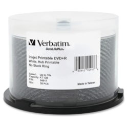 Verbatim DataLifePlus DVD Recordable Media - DVD+R - 16x - 4.70 GB - 50 Pack Spindle - Retail
