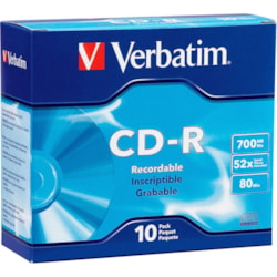 Verbatim 94935 CD Recordable Media - CD-R - 52x - 700 MB - 10 Pack Slim Case