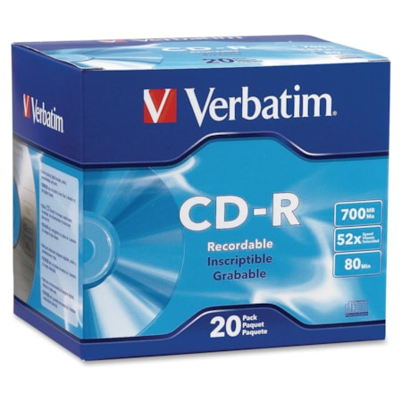 Verbatim 94936 CD Recordable Media - CD-R - 52x - 700 MB - 20 Pack Slim Case