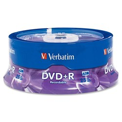 Verbatim DVD Recordable Media - DVD+R - 16x - 4.70 GB - 25 Pack Spindle - Retail
