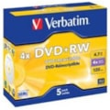Verbatim DVD Rewritable Media - DVD+RW - 4x - 4.70 GB - 5 Pack Jewel Case
