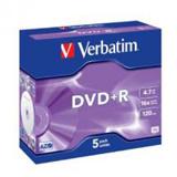 Verbatim DVD Recordable Media - DVD+R - 16x - 4.70 GB - 5 Pack Jewel Case
