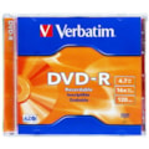 Verbatim DVD Recordable Media - DVD-R - 16x - 4.70 GB - 1 Pack Jewel Case
