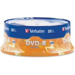 Verbatim DVD Recordable Media - DVD-R - 16x - 4.70 GB - 25 Pack Spindle