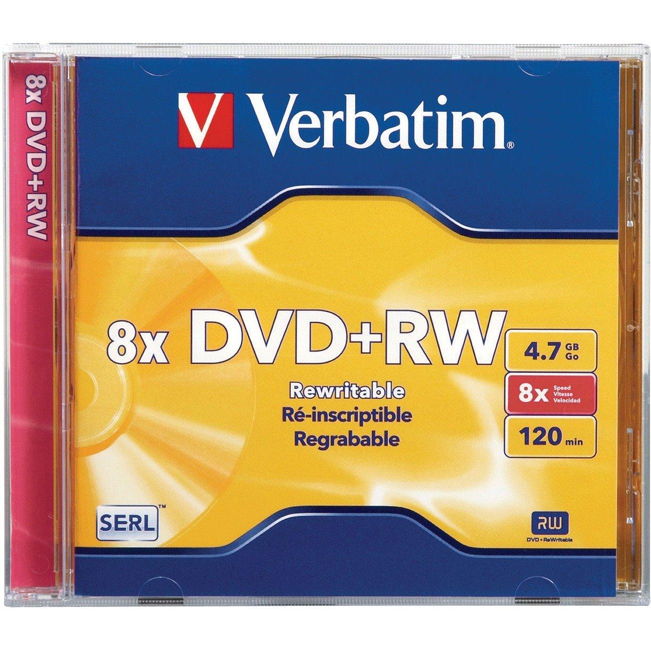 Verbatim 95071 DVD Rewritable Media - DVD+RW - 8x - 4.70 GB - 1 Pack Jewel Case