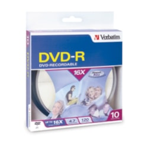 Verbatim DVD Recordable Media - DVD-R - 16x - 4.70 GB - 10 Pack Spindle