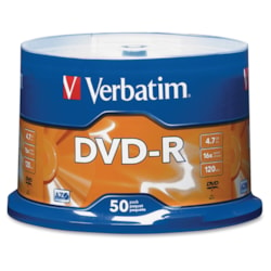 Verbatim 95101 DVD Recordable Media - DVD-R - 16x - 4.70 GB - 50 Pack Spindle