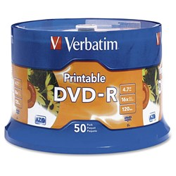 Verbatim DVD Recordable Media - DVD-R - 16x - 4.70 GB - 50 Pack Spindle