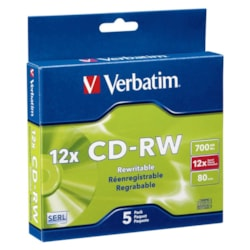 Verbatim 95157 CD Rewritable Media - CD-RW - 12x - 700 MB - 5 Pack Slim Case