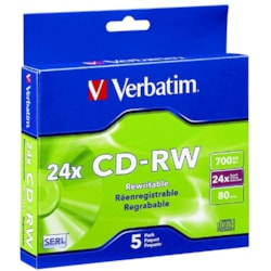 Verbatim 95158 CD Rewritable Media - CD-RW - 24x - 700 MB - 5 Pack Slim Case