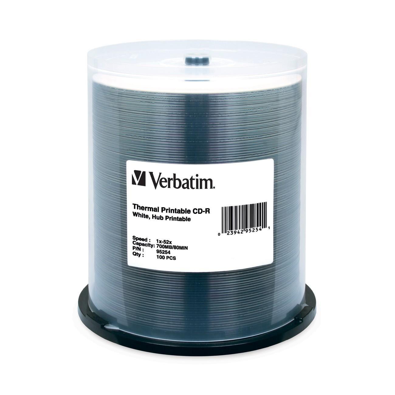 Verbatim 95254 CD Recordable Media - CD-R - 52x - 700 MB - 100 Pack Spindle