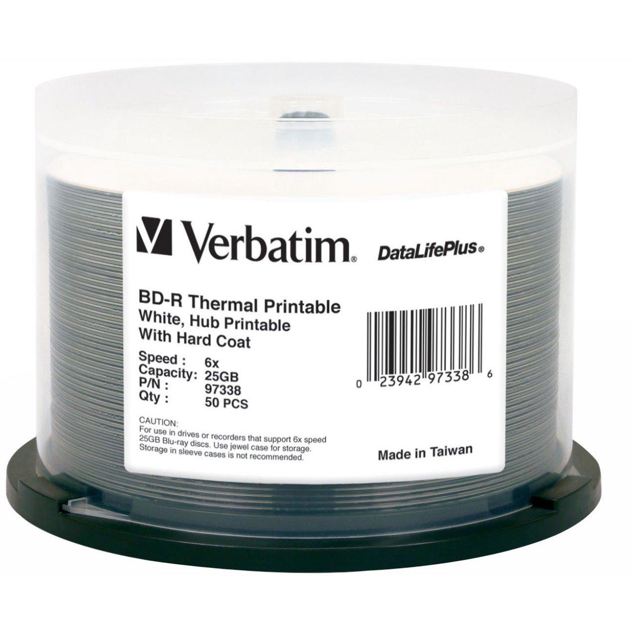 Verbatim DataLifePlus 97338 Blu-ray Recordable Media - BD-R - 16x - 25 GB - 50 Pack Spindle