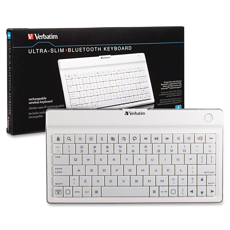 Verbatim 97754 Keyboard - Wireless Connectivity - Bluetooth - White
