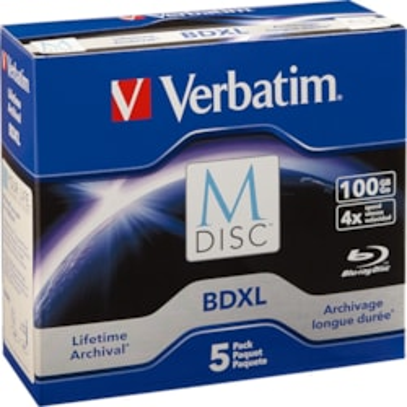 Verbatim Blu-ray Recordable Media - BD-R XL - 4x - 100 GB - 5 Pack Jewel Case