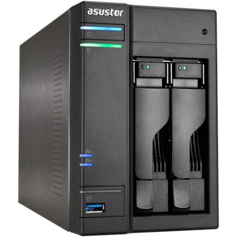ASUSTOR AS6102T 2 x Total Bays NAS Storage System - Intel Celeron Dual-core (2 Core) 1.60 GHz - 2 GB RAM - DDR3L SDRAM Desktop