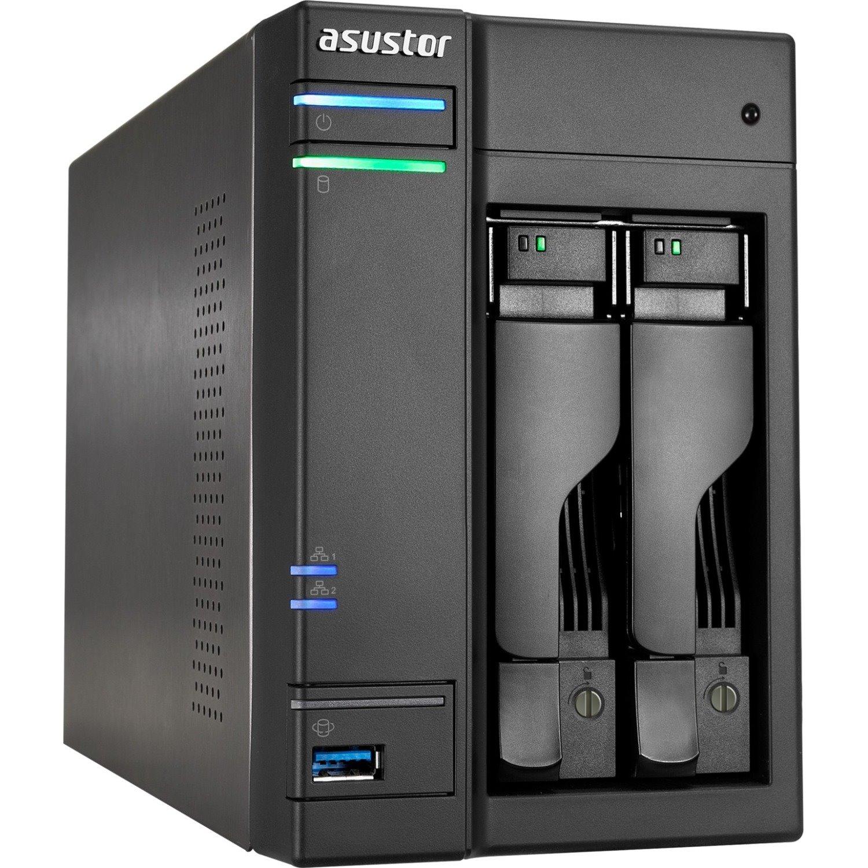 ASUSTOR AS6202T 2 x Total Bays NAS Storage System - Intel Celeron Quad-core (4 Core) 1.60 GHz - 4 GB RAM - DDR3L SDRAM Desktop