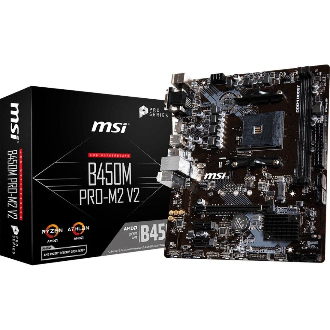 MSI B450M PRO-M2 V2 Desktop Motherboard - AMD Chipset - Socket AM4