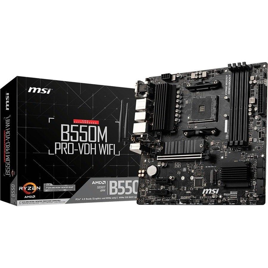 MSI B550M PRO-VDH WIFI Desktop Motherboard - AMD Chipset - Socket AM4